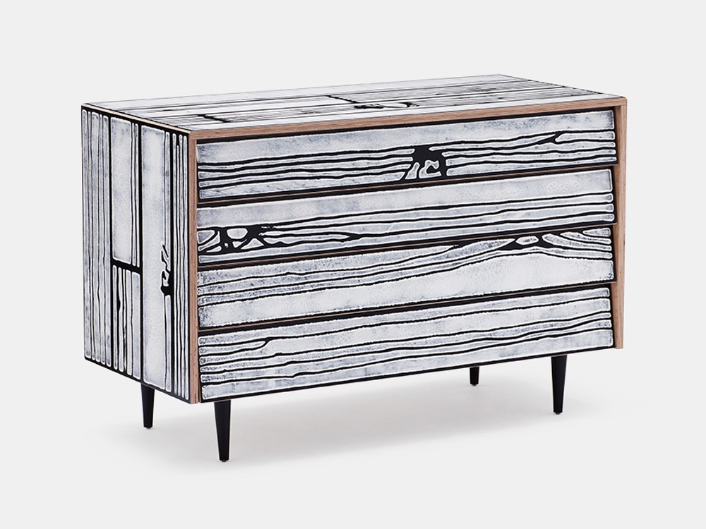 Wrongwoods Chest of drawers - L109 White with Black