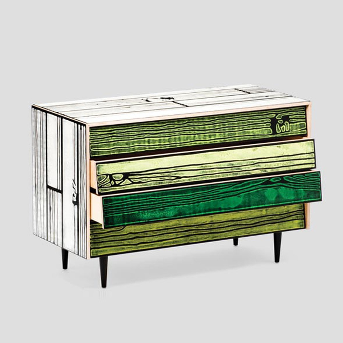 Wrongwoods Chest of drawers - L109 White with Green
