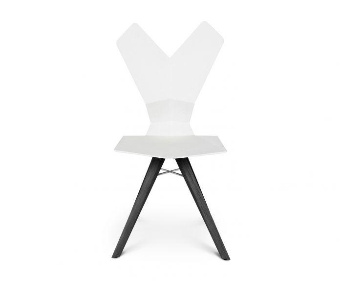 Y Chair Wood Base TD Black Oak, White Seat