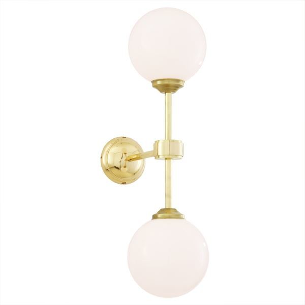 Yaounde Double Globe Wall Light Polished Brass