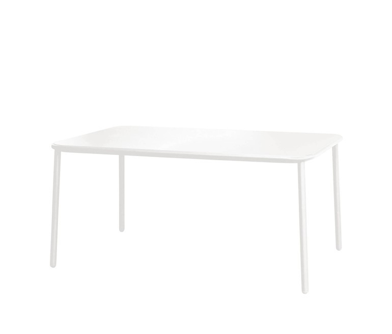 Yard Rectangular Table with aluminium top Matt White