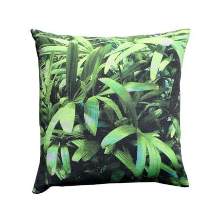 Zingy Palm Print Square Cushion Small