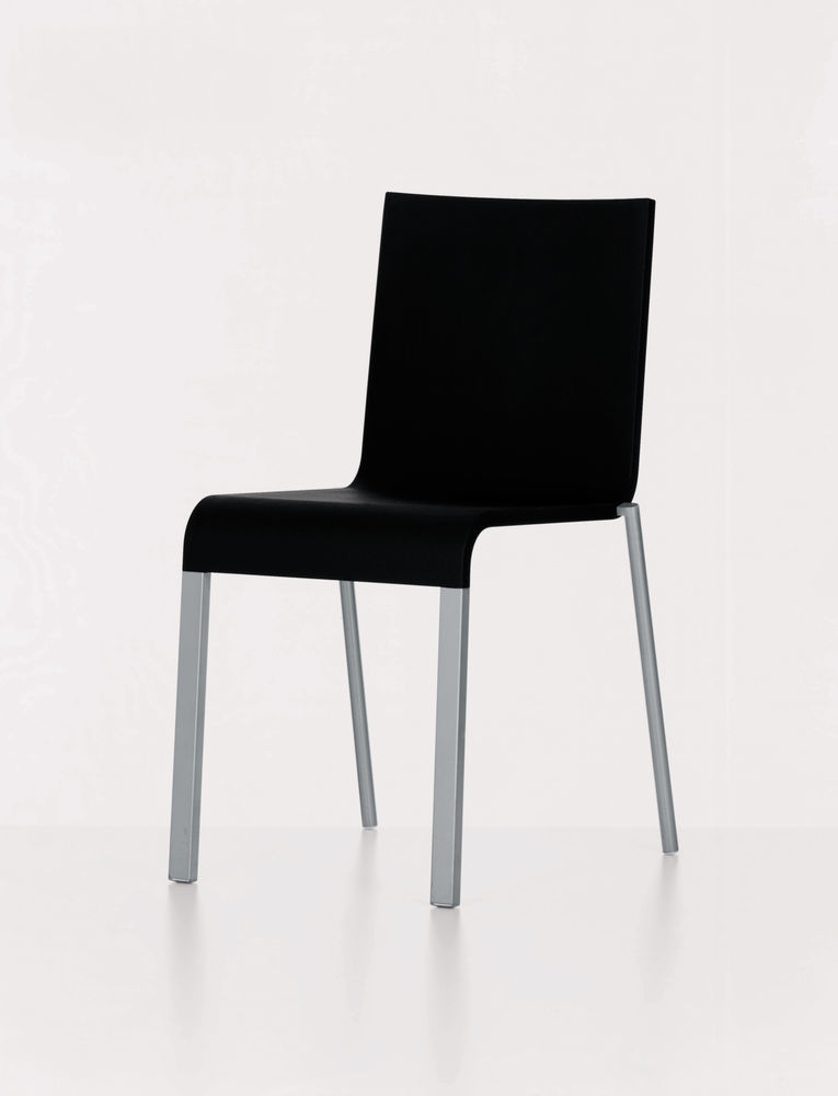 .03 Four-leg Chair - Stacking powder-coated silver, 01 Basic Dark, 04 Glides for Carpet