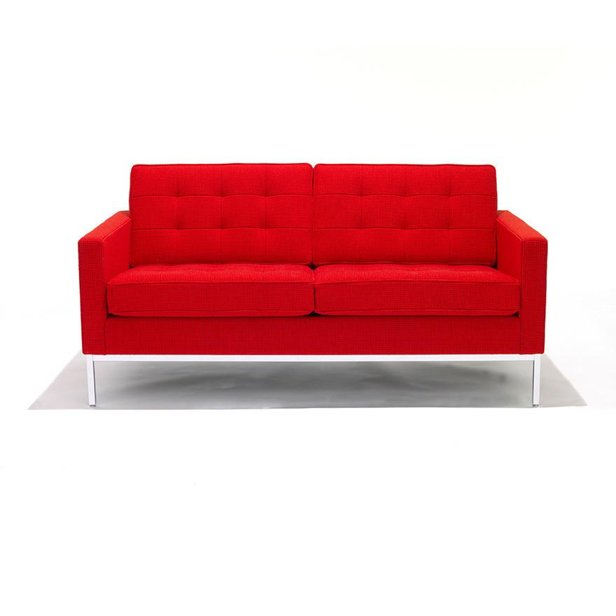 Florence Knoll 2 Seater Sofa Polished Chrome, Knoll Felt Canary K12075