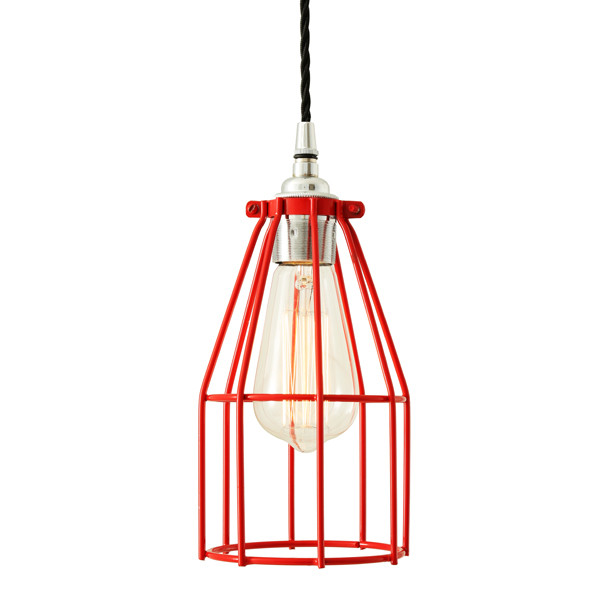 Raze Cage Pendant Light Red Cage with Chrome Lampholder