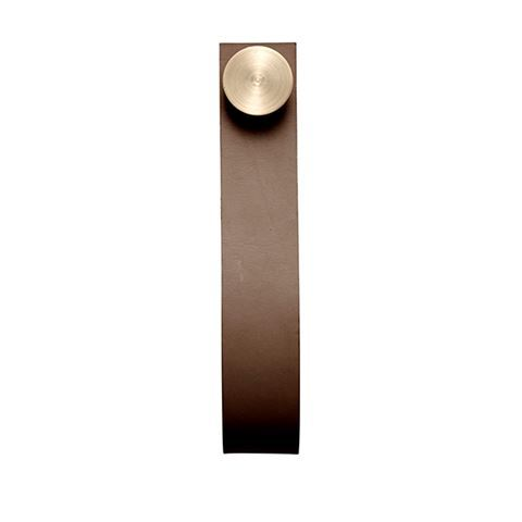Stropp Hanging Peg - Set of 6 Brass / Brown Leather