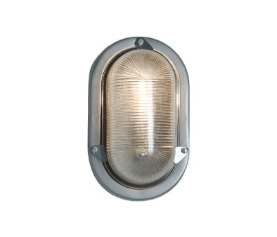 7001 Oval Aluminium Bulkhead for GLS, Painted Silver by Davey Lighting Limited