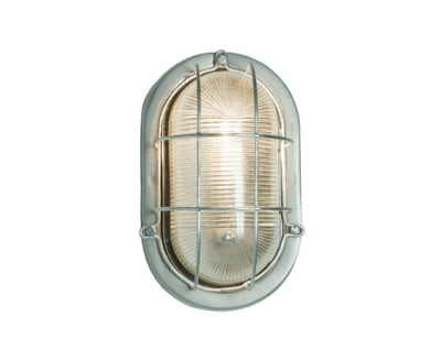 7003 Oval Aluminium Bulkhead, with Guard for GLS, Painted Silver by Davey Lighting Limited