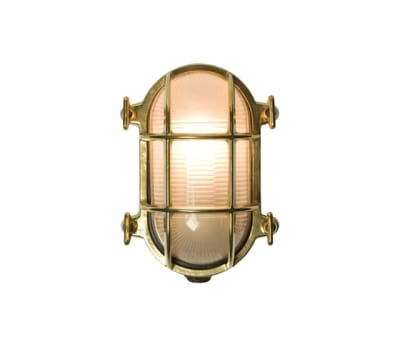 7036 Oval Brass Bulkhead with Internal Fixing, Polished Brass by Davey Lighting Limited