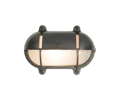 7435 Oval Brass Bulkhead With Eyelid Shield, Medium, Weathered Brass by Davey Lighting Limited