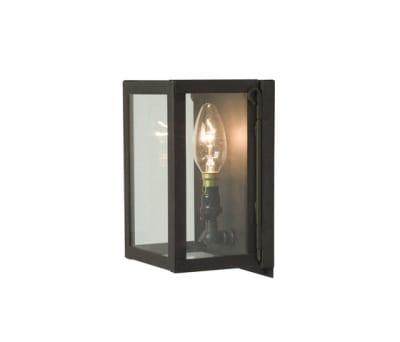 7643 Miniature Box Wall Light, Internal Glass, Weathered Brass, Clear Glass by Davey Lighting Limited
