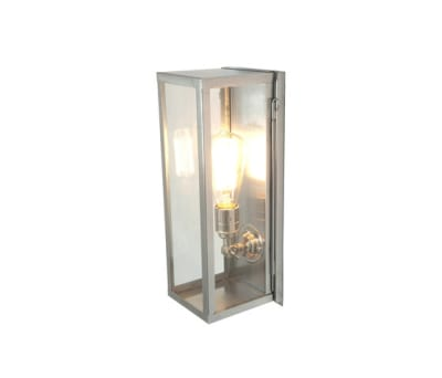 7650 Narrow Box Wall Light, Internal Glass, Satin Nickel, Clear Glass by Davey Lighting Limited