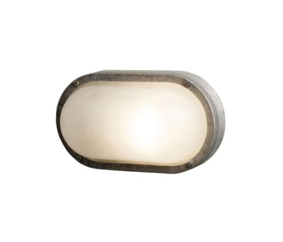 8120 Oval Aluminium Bulkhead, Without Guard, E27, Aluminium by Davey Lighting Limited