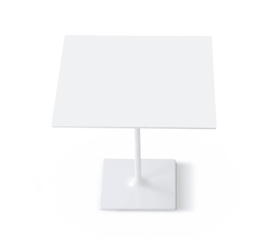 Dizzie | H 105 - Square base by Arper White Powdercoated Base, MDF MD cm 80x80 White Top