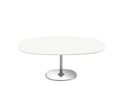 Dizzie | H 35 by Arper Chromed Base, MDF MD cm 135x100 White Top