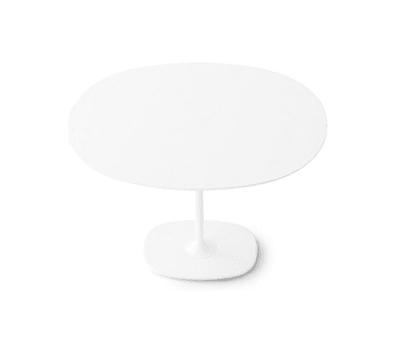 Dizzie | H 74 - Oval base by Arper White Powdercoated Base, MDF MD cm 90x108 White Top