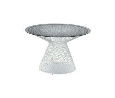 Heaven round table; Ø120 Glossy White/Smoke Grey