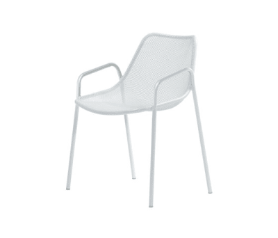 Round armchair - set of 4 Glossy White