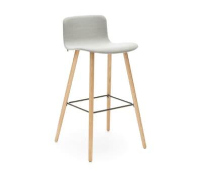 Sola barstool wooden base low backrest by Martela Oyj