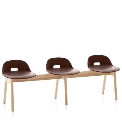 Alfi 3 Seater Bench, Low Back Dark Brown, Natural Light Ash Frame