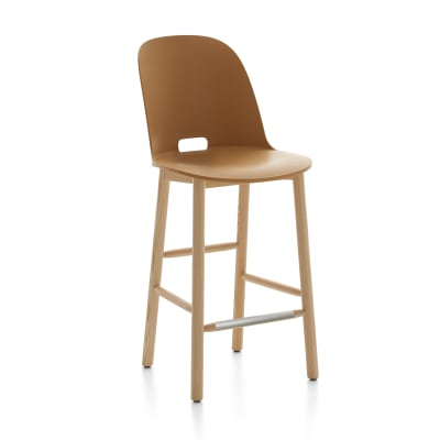 Alfi Counter Stool, High Back Red, Dark Stained Ash Frame