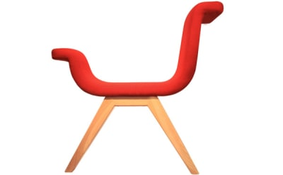 Anormal Chair Red with Wooden Base