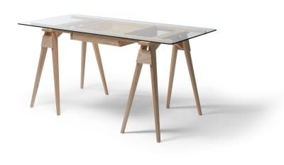 Arco Desk Frame & Drawer Oak