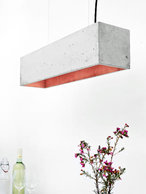 [B4] Pendant Light Light Grey Concrete, Copper Plating