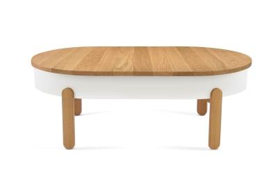 Batea L - Coffe table with storage Oak & White