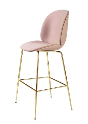 Beetle Bar Chair - Front Upholstered Shell Plastic Dark Pink, Leather Silk SIL0197 Cream, Frame Matt Black
