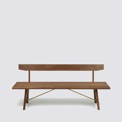 Bench Two with Back Walnut, 200 cm