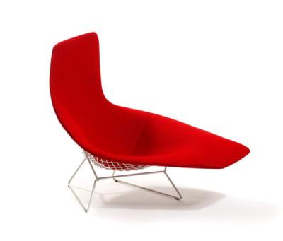 Bertoia asymmetric chaise - Cato Fire Red 20SH x 102H x 115W x106D cm
