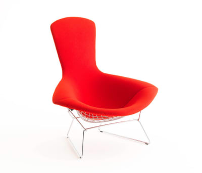 Bertoia High Back Chair - 38SH x 101H x 98W x 89D cm Cato Fabric - Fire Red, Polished Chrome