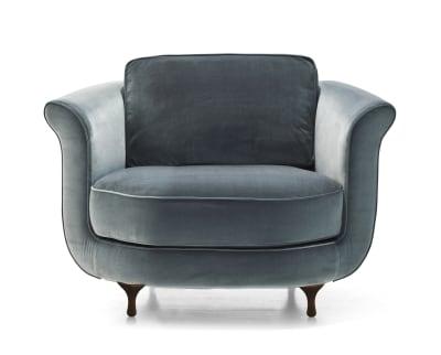 Big Mama Armchair B0023 - Leather Rich, Dark Stained Beech Feet