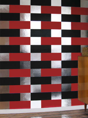 Block Wallpaper Black, Red and Silver
