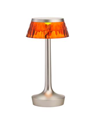Bon Jour Unplugged Table Lamp Matt Chrome finish, Amber shade
