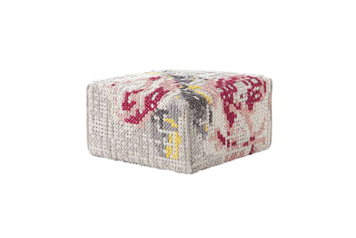 Canevas Square Flowers Ottoman Natural