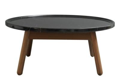 Carve Round Coffee Table Walnut Base, Black Top