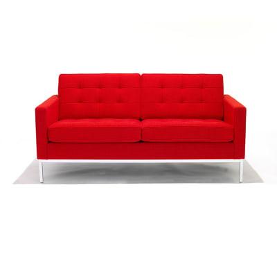 Florence Knoll 2 Seater Sofa Satin Chrome, Lucca Fanciulla LC2404