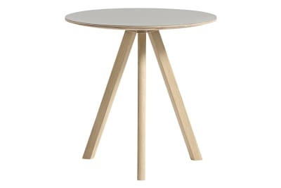 Copenhague Linuleum Top Round Coffee Table CPH20 Matt Lacquered Oak Base, Off White Top