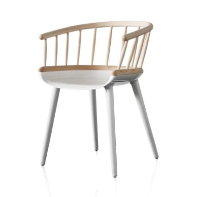 Cyborg Stick Armchair White Base, Natural Back