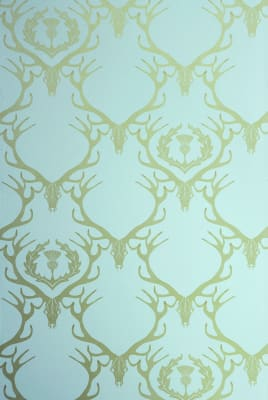 Deer Damask Wallpaper Duck Egg Blue, Antique Gold