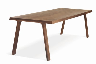 Doble Dining Table Matt Lacquered Walnut, Short