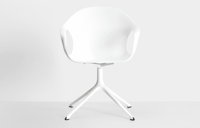 Elephant Swivel Trestle Armchair - Polyurethane Seat Polished aluminium, White polyurethane