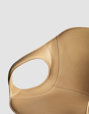 Elephant Swivel Trestle Armchair - Upholstered Seat Polished aluminium, Cuoietto 500