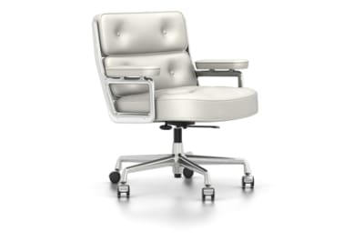 ES 104 Swivel, With Armrests Leather Premium 72 snow, 02 castors hard - braked for carpet