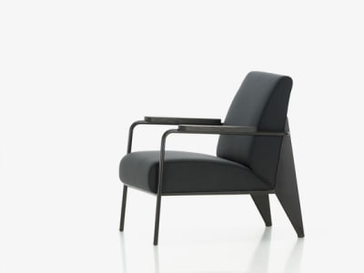 Fauteuil de Salon Cité 02 black, 12 deep black powder-coated, 90 solid oak smoked oiled, 04 glides for carpet