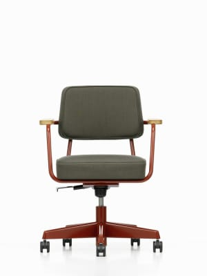Fauteuil Direction Pivotant Leather Premium 72 snow, 80 coffee powder-coated, 90 solid oak smoke-oiled, 03 castors soft braked for hard floor