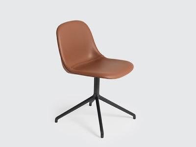 Fiber Side Swivel Base Chair With Return - Upholstered B0300 - Elmosoft 44066 orange