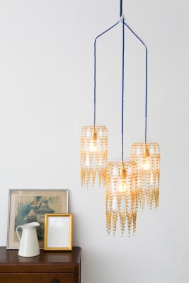 Fibula Lux Three Pendant Chandelier Brass